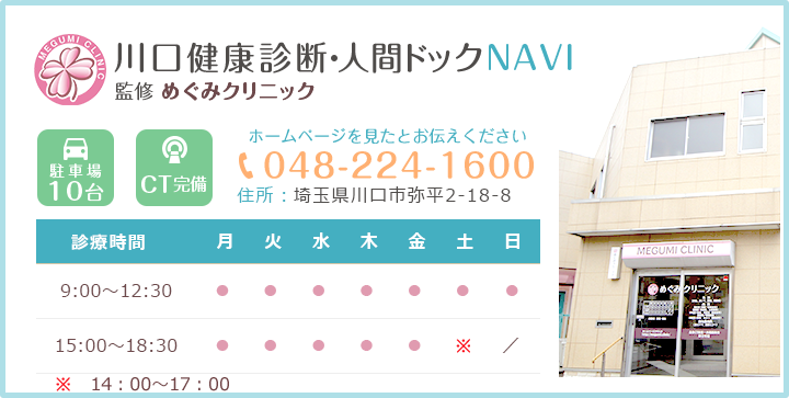 川口健康診断・人間ドックNAVI 監修 めぐみクリニック TEL:048-224-1600